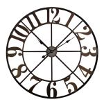 Industrial Style Distressed Bronze Round Metal Wall Clock Cut Out Design 80cm